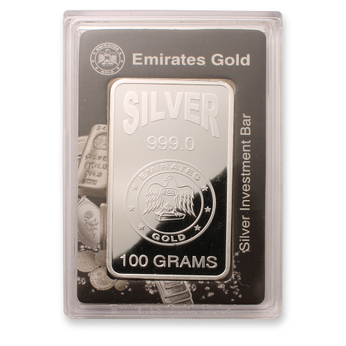 Silver Bullion Emirates 100 Gram Silver Bar Packed